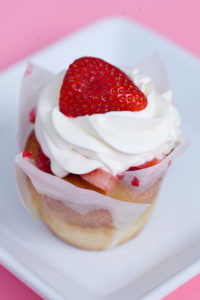*Strawberries n cream $3 - is a vanilla cupcake soaked in ice cream mix topped with fresh strawberries and whipped cream frosting.
