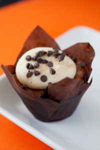 Pumpkin Chocolate Chip $3- A super moist pumpkin cupcake baked with both milk and semi sweet chocolate chips topped with a cream cheese frosting, sprinkled with mini chocolate chips, cinnamon and sugar.