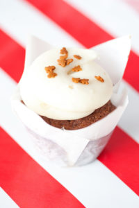 Gingerbread $2.75 -  A moist gingerbread cupcake topped with a cream cheese frosting.