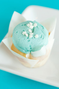 Elsa Vanilla $2.50 – It's a Vanilla Cupcake frosted with a blue buttercream and garnished with snowflake sprinkles and edible glitter.