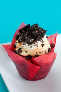 *PGFD Red Velvet $3 (named after our Pleasant Grove Fire Department) is a red velvet cupcake filled and topped with a vanilla pudding, whipped cream frosting and crushed oreos.
