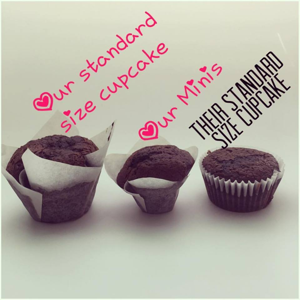 "One of the most asked questions we get asked is ""what's the difference between your standard size cupcake and your minis?"" As you can see our standard size cupcake is TWICE the size of a ""standard"" size cupcake. Our minis are the exact same size as a ""standard size"" cupcake. Though our minis look smaller next to ""their standard size"" it's the EXACT same scoop of batter. Our minis are $1 less than our normal cupcakes."