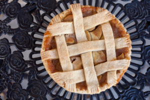 Apple Pie - (CANT BE GF!) $12.99 filled with fresh apples, mixed with the perfect blend of brown sugar and cinnamon topped with our flakey pie crust.