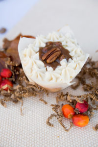 Pecan Pie $3 - This vanilla cupcake is filled with a made from scratch pecan pie filling topped with buttercream frosting.