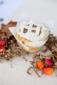 Apple Pie $3 - A cinnamon and sugar cupcake filled with a home made apple pie filling piped with buttercream frosting.