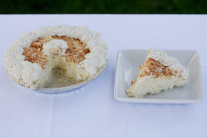 Coconut Cream Pie $13.99 Filled with our coconut vanilla pudding topped with whipped cream and toasted coconut.