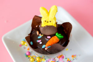 Chocolate Covered Peep $3 - Our chocolate cupcake filled with a made from scratch marshmallow fluff, topped with ganache and a hand dipped chocolate covered peep.