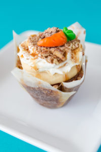*Carrot Cake Cheesecake $3: Our super moist carrot cake filled and topped with our made from scratch cheesecake, topped with whipped cream, gooey caramel, and crushed candied pecans.